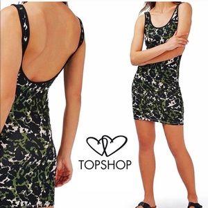 TOPSHOP camo mini bodycon dress camouflage 6/M